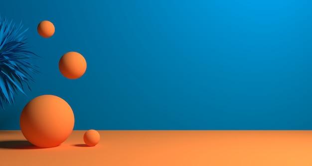 Illustrazione 3d di forma geometrica astratta di colore blu, dell'esposizione moderna minimalista del podio o della vetrina