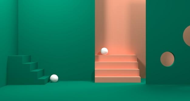 Illustrazione 3d di forma geometrica astratta di colore verde, dell'esposizione minimalista moderna del podio o della vetrina