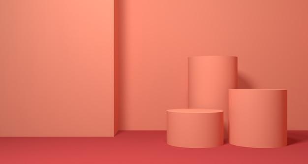 Illustrazione 3d di forma geometrica di colore di corallo astratto, esposizione moderna del podio minimalista o vetrina