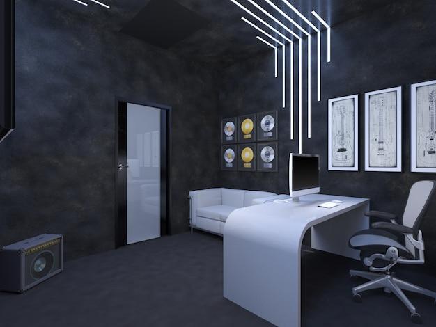 Illustrazione 3d di interior design di un ufficio destino del guit
