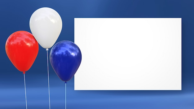 Illustrazione 3d di palloncini blu, rossi e bianchi