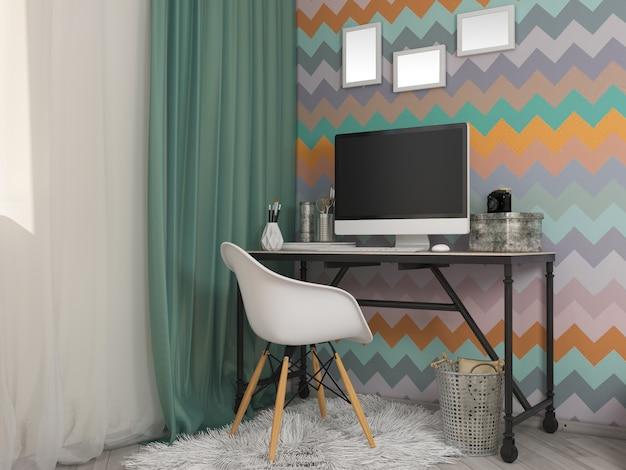 Illustrazione 3d di piccoli appartamenti nei colori pastelli.