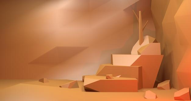 Illustrazione 3d di pietra marrone nella grotta per il concetto di visualizzazione del prodotto.
