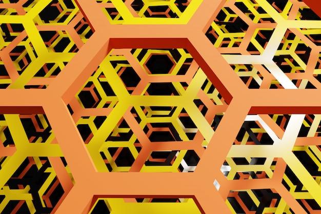 Illustrazione 3d di un favo bianco e nero a nido d'ape per miele.