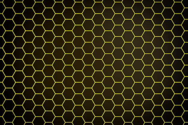 Illustrazione 3d di un favo monocromatico a nido d'ape giallo per miele. modello di semplici forme geometriche esagonali, sfondo a mosaico. concetto di ape a nido d'ape