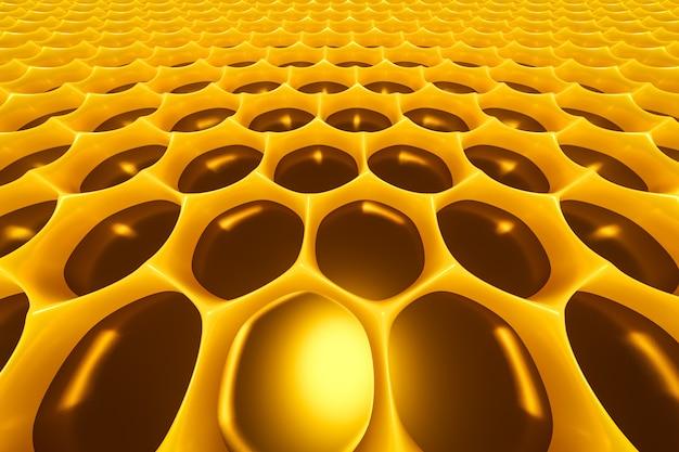 Illustrazione 3d di un favo monocromatico a nido d'ape giallo per miele. modello di semplici forme geometriche esagonali, sfondo a mosaico.