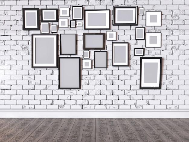 Illustrazione 3d di un'immagine su una parete