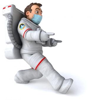 Illustrazione 3d di un personaggio dei cartoni animati con una maschera