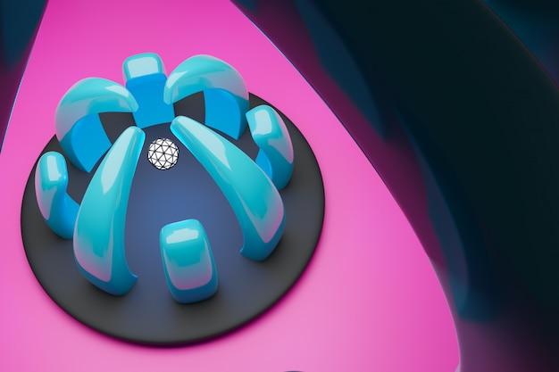 Illustrazione 3d di un portale cyber blu con una palla luminosa bianca dentro.