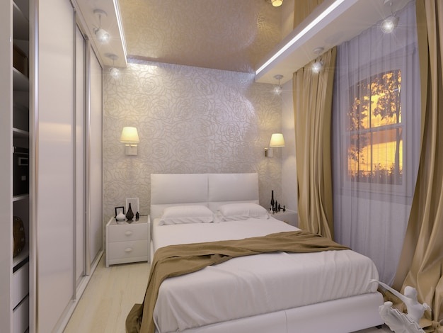 Illustrazione 3d di una camera da letto bianca in stile moderno