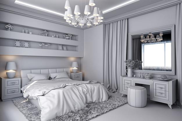 Illustrazione 3d di una camera da letto bianca nello stile classico