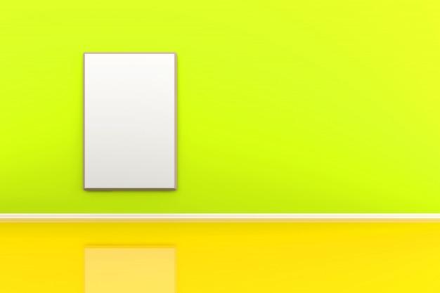 Illustrazione 3d di una cornice sulla parete in una stanza verde.