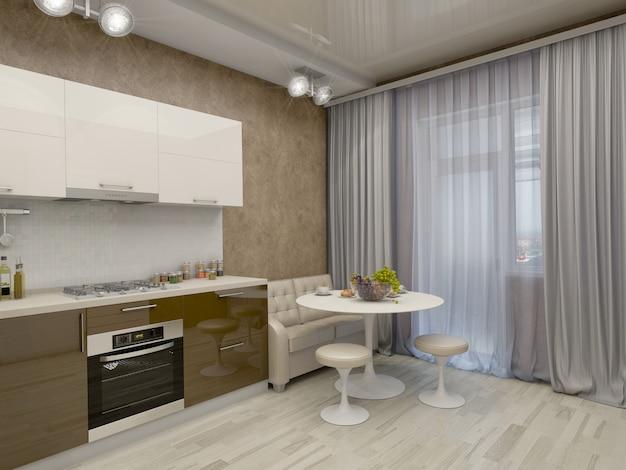 Illustrazione 3d di una cucina nei toni beige