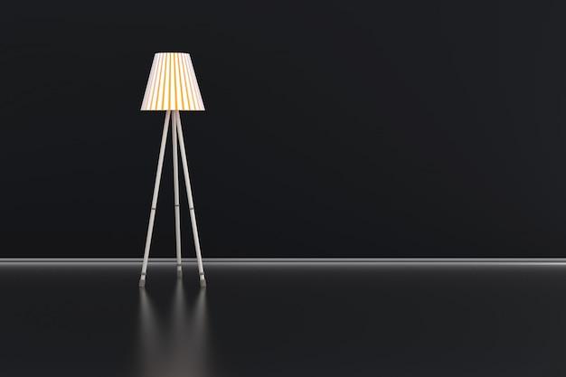 Illustrazione 3d di una lampada in una stanza scura.