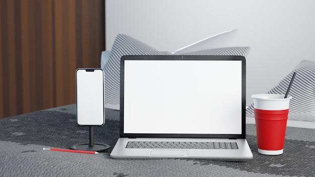 Illustrazione 3d dispositivo di tazza di caffè smartphone, laptop e ghiaccio con schermo bianco sul letto in mattinata. lavora da casa concetto