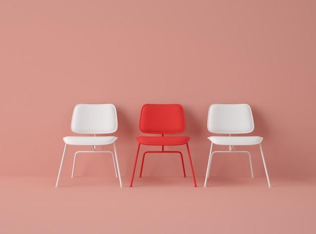 Illustrazione 3d. fila di sedie con una di colore diverso.