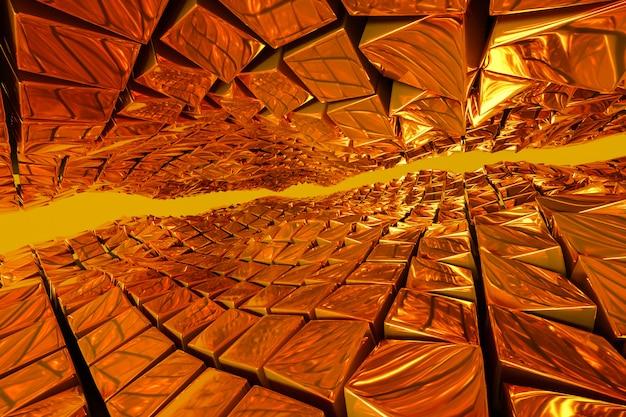 Illustrazione 3d il percorso dorato che conduce alla ricchezza e al successo. composizione di forme quadrate geometriche. cubi di metallo giallo disposti a caso. schema dei fili del riscaldatore a infrarossi.