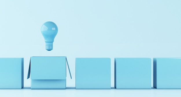 Illustrazione 3d lampadina. idea e pensa al di fuori del concetto di scatola.