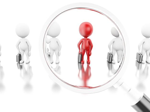Illustrazione 3d lente d'ingrandimento che prende in mano un nuovo lavoratore