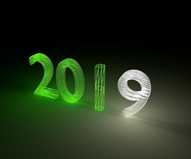 Illustrazione 3d luce al neon del wireframe di nuovo anno 2019.