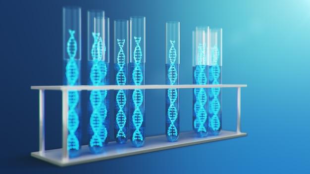 Illustrazione 3d molecola di dna, la sua struttura. concetto genoma umano