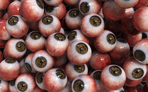 Illustrazione 3d molti abstract collection brown eyeballs closeup halloween spaventoso.