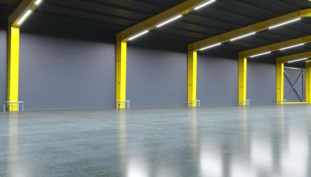 Illustrazione 3d. nuovo magazzino o fabbrica vuoto.