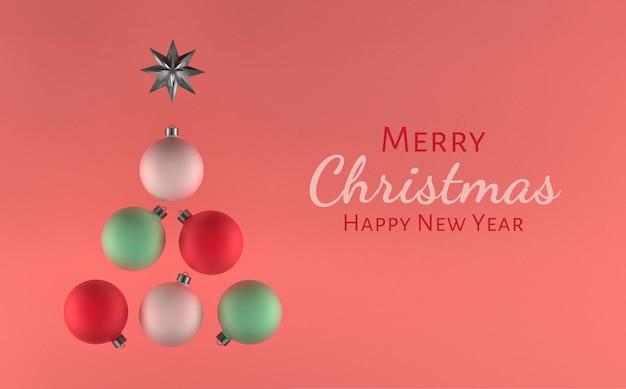 Illustrazione 3d, palle dell'albero di natale, colori tenui, cartoline d'auguri