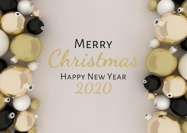 Illustrazione 3d, palle di natale. buon natale e felice anno nuovo sfondo