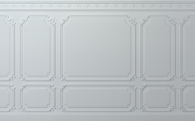 Illustrazione 3d parete classica di pannelli di legno bianchi. falegnameria all'interno. sfondo.