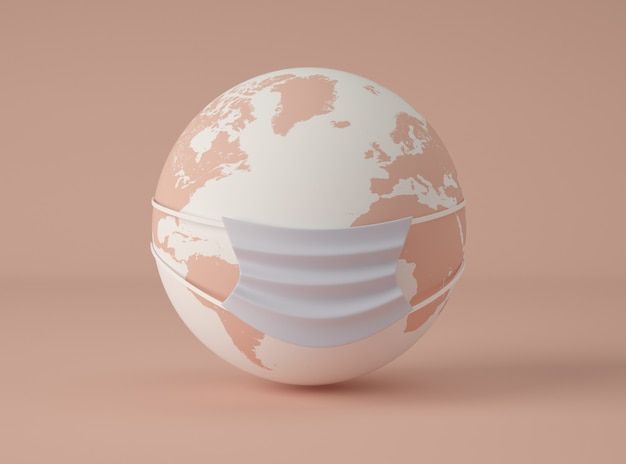 Illustrazione 3d. pianeta terra che indossa una maschera protettiva.