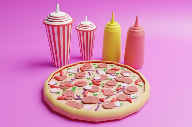 Illustrazione 3d pizza design