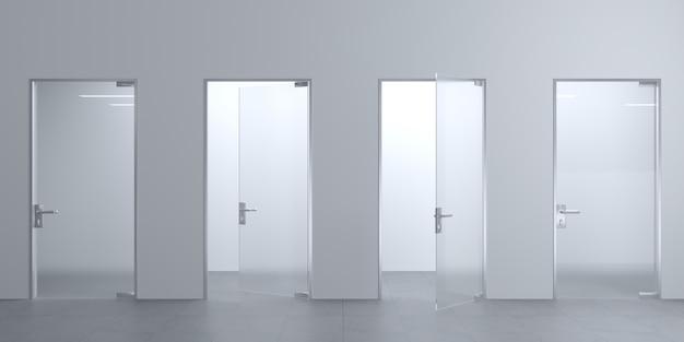 Illustrazione 3d porte moderne in vetro nella hall o nel corridoio. sfondo interno