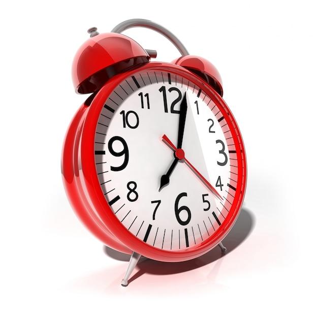 Illustrazione 3d red vintage retro alarm clock