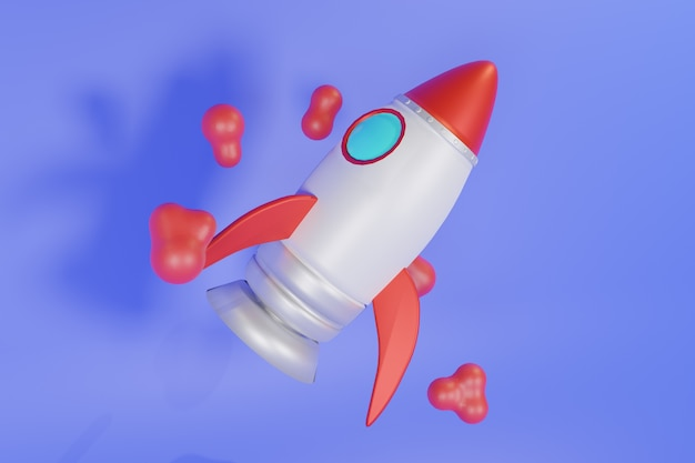 Illustrazione 3d rocket design