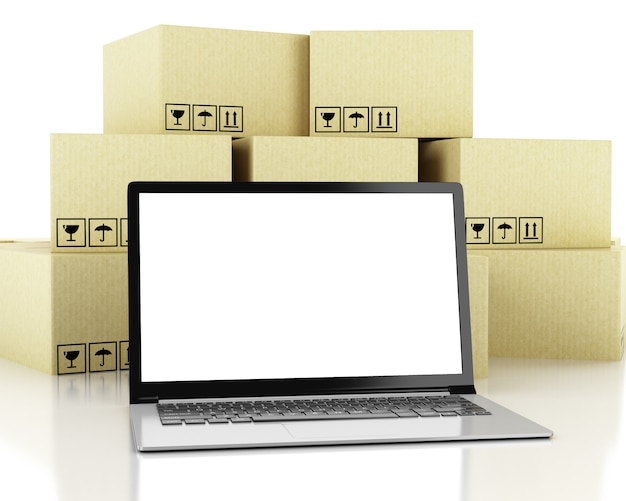 Illustrazione 3d scatole di cartone e dispositivi tecnologici con schermo bianco.