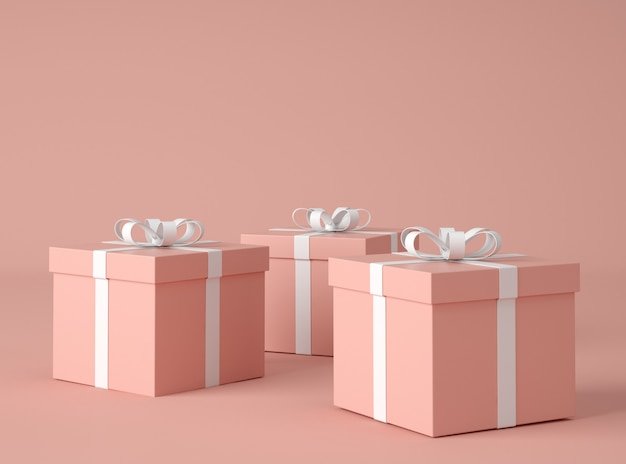 Illustrazione 3d. scatole regalo con fiocco.