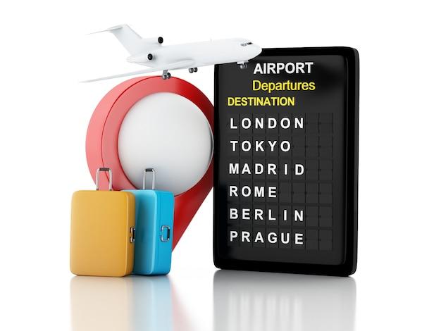 Illustrazione 3d scheda aeroporto, valigie viaggio e puntatore aeroporto. concetto di viaggio aereo. sfondo bianco isolato