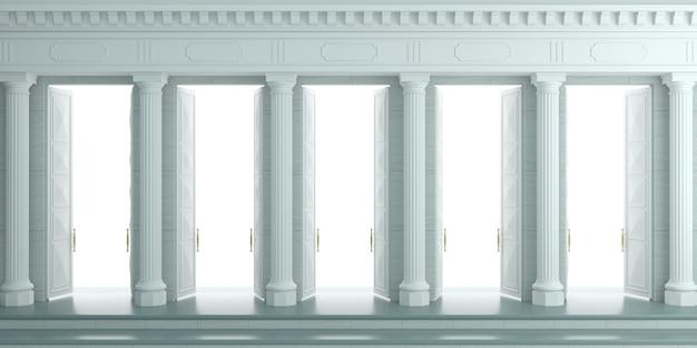 Illustrazione 3d sfondo con parete classica con colonne bianche in pietra e doppie porte aperte.