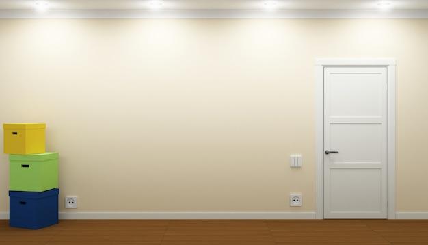 Illustrazione 3d stanza vuota con porta e scatole. processo di trasferimento immobili