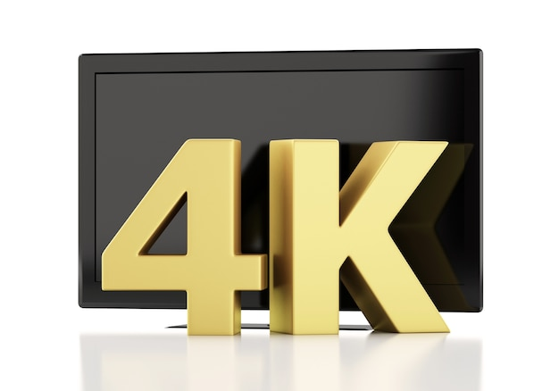 Illustrazione 3d tv 4k ultrahd. concetto di tecnologia
