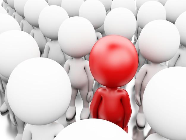 Illustrazione 3d uomo d'affari rosso in piedi tra i bianchi
