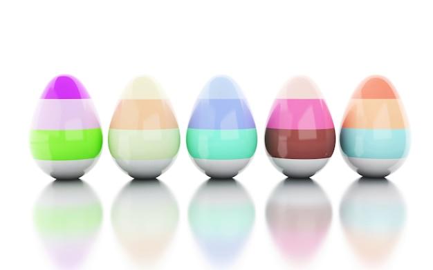 Illustrazione 3d uova di pasqua decorate sfondo bianco isolato