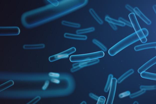Illustrazione 3d virus, batteri, microrganismi infetti da cellule, ridotta immunità. estratto del virus nello spazio