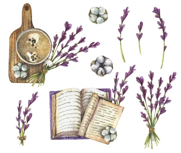Illustrazione ad acquerello vista dall'alto di lavanda, tazza di caffè, libro, cotone, tavola di legno.