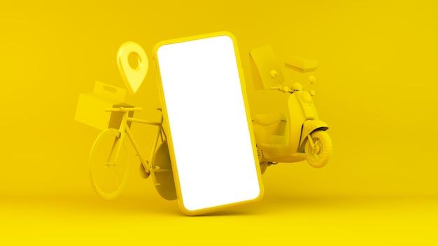 Illustrazione app consegna con dispositivo e oggetti di trasporto