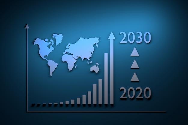 Illustrazione con infografica di crescita - crescita esponenziale nel periodo dal 2020 al 2030 e mappa del mondo