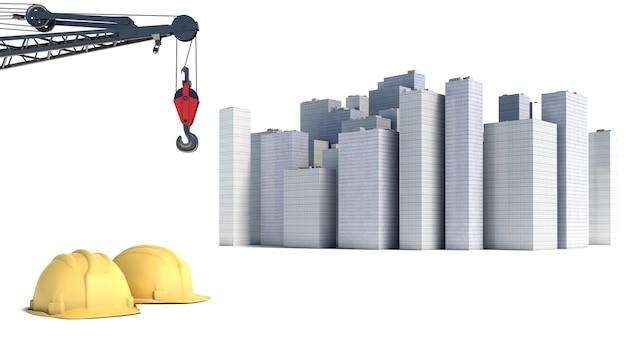 Illustrazione con la costruzione di casa e le gru