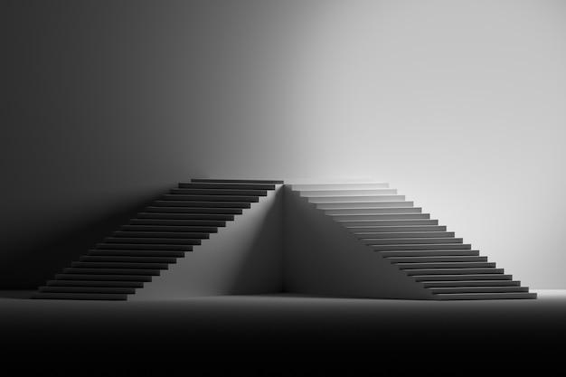Illustrazione con piedistallo fatto di scale in bianco e nero.