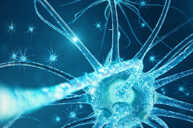 Illustrazione concettuale delle cellule di neurone con nodi di collegamento incandescente